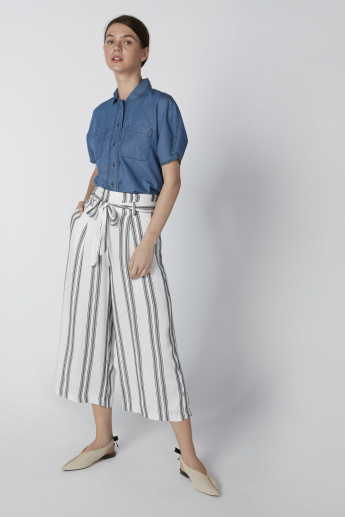 Striped Culottes in Wide Fit and Tie Ups