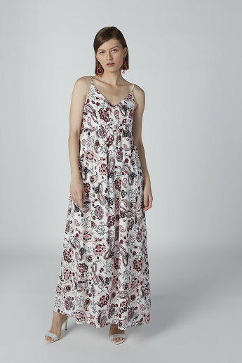 Paisley Printed Maxi A-line Dress with Straps