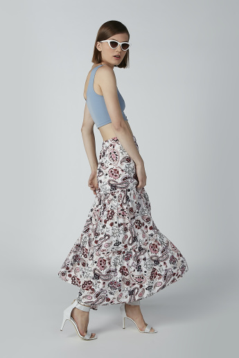 Printed A-Line Maxi Skirt with Elasticised Waistband