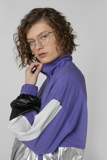 Panelled Bomber Jacket with Zip Closure