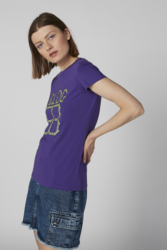 Graphic Printed T-shirt with Round Neck and Cap Sleeves