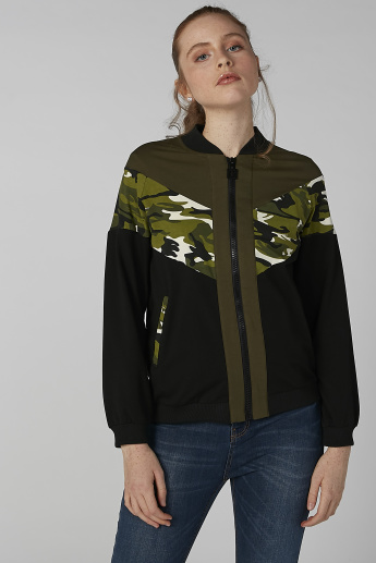 Printed Jacket with Tape Detail and Long Sleeves