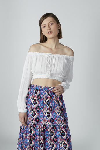 Textured Off Shoulder Crop Top with Long Sleeves