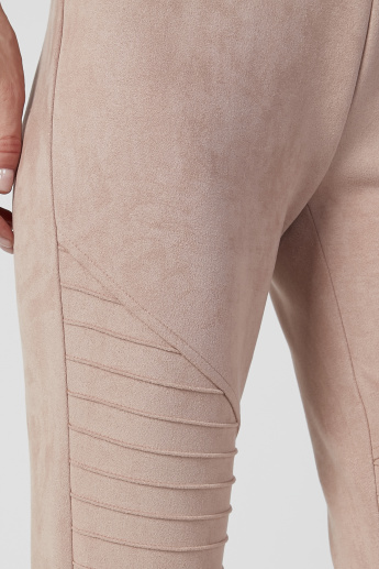 Textured Mid Waist Treggings with Elasticised Waistband