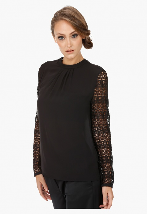 Elle High Neck Blouse with Lace Sleeves