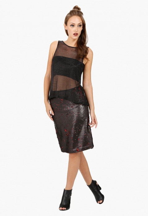 Elle High Waist Pencil Skirt with Sequin Embellishment