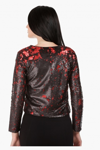 Elle Bomber Jacket with Sequins and Long Sleeves in Regular Fit