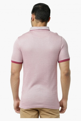 L'HOMME Polo T-Shirt with Printed Collar in Regular Fit