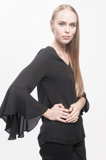 V-Neck Top with Flared Sleeves