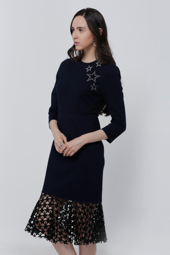 Elle Embellished Midi Dress with 3/4 Sleeves