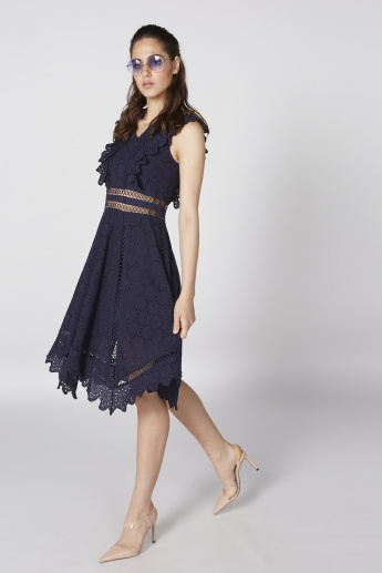 Elle Schiffli Midi Dress with V-Neck and Ruffle Detail