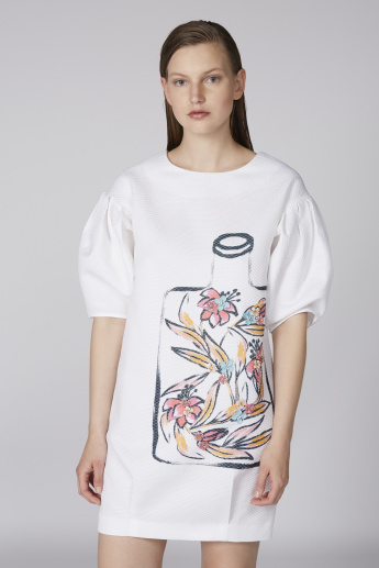 Elle Printed T-Shirt Dress with Round Neck and Short Sleeves