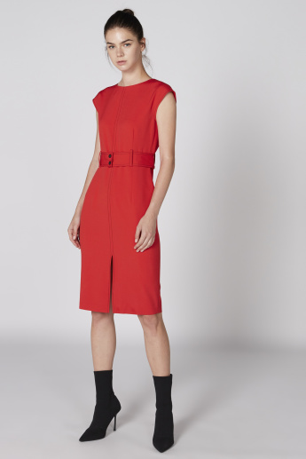 Elle Round Neck Midi Dress with Front Slit and Belt