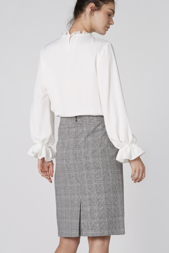 Elle Chequered and Studded Skirt with Zip Closure