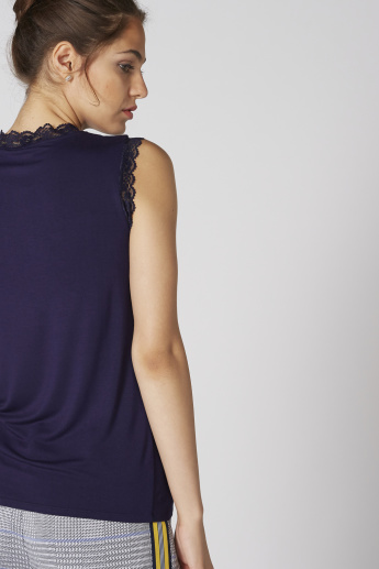 Elle Printed Sleeveless Top with Round Neck and Lace Detail