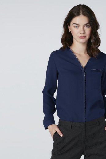 ELLE Patch Pocket Detail Shirt with Concealed Placket