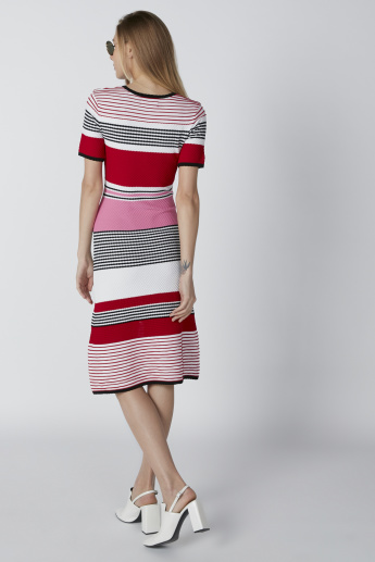 Striped Midi Shift Dress with Short Sleeves