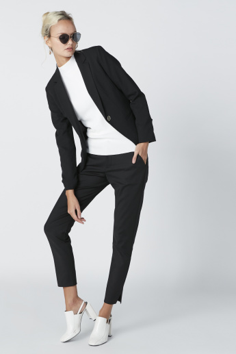 ELLE Mid-Rise Trousers in Regular Fit with Pocket Detail