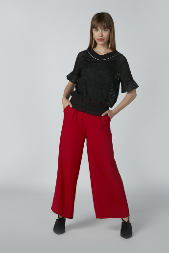 ELLE Plain Full Length Trousers with Pocket Detail
