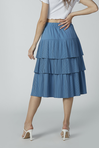 Pleated and Striped Midi A-line Skirt with Ruffle Detail