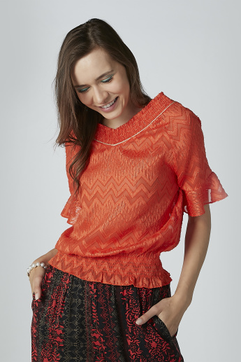 ELLE Textured Top with V-neck and Short Sleeves