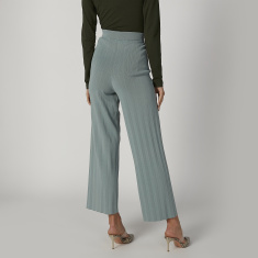 ELLE Wide Fit Textured Palazzo Pants with Elasticised Waistband