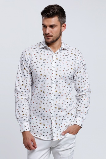 L'HOMME All Over Print Shirt with Long Sleeves