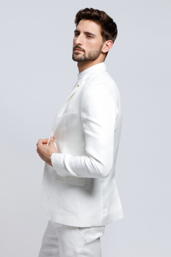 L'HOMME Long Sleeves Blazer with Notch Collar and Flap Pockets