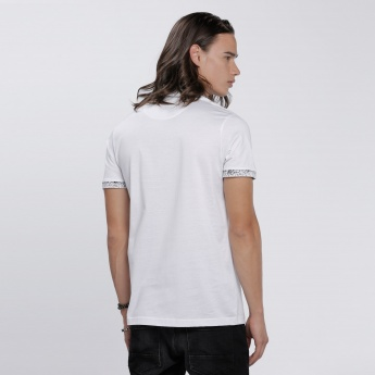L'HOMME Printed Polo Neck and Short Sleeves in Slim Fit