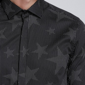 Printed Long Sleeves Shirt with Spread Collar