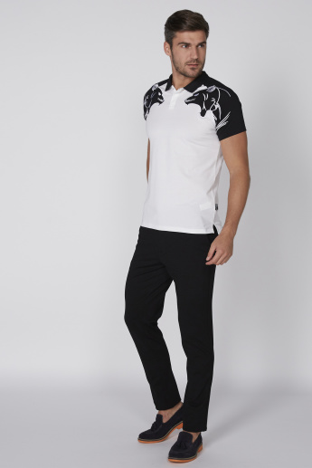 L'Homme Printed T-Shirt with Polo Neck and Raglan Sleeves