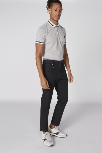 L'Homme Full Length Jeans with Pocket Detail and Button Closure