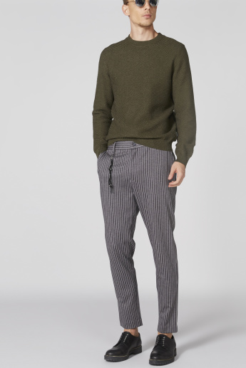 L'Homme Striped Pants with Button Closure and Pocket Detail