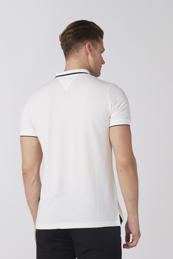 L'Homme Zip Detail Polo Neck T-Shirt with Short Sleeves