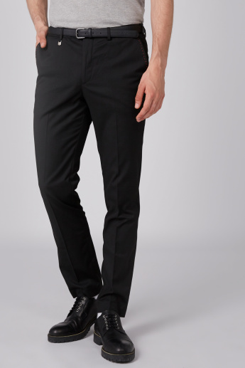 L'Homme Full Length Mid-Rise Trousers with Pocket Detail