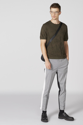 L'Homme Chequered Full Length Pants with Pocket Detail