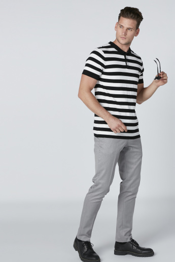 L'Homme Striped T-Shirt with Polo Neck and Short Sleeves