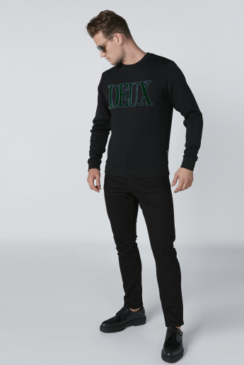 L'Homme Embroidered Sweatshirt with Crew Neck and Long Sleeves