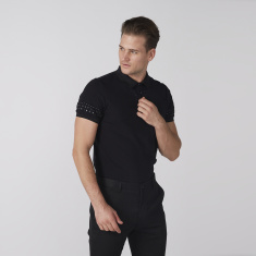 L'Homme Embellished Polo Neck T-Shirt with Short Sleeves