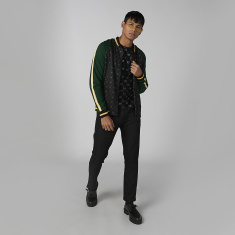 L'Homme Printed Bomber Jacket with Long Sleeves and Kangaroo Pockets