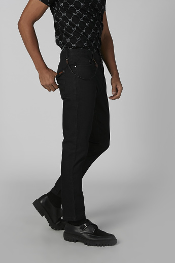 L'Homme Full Length Pants with Pocket and Chain Detail