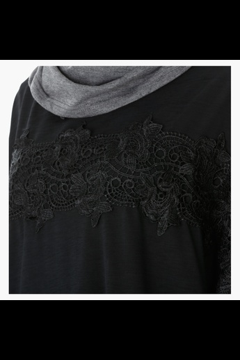 Lace Top with Long Sleeves and High-Low Hem