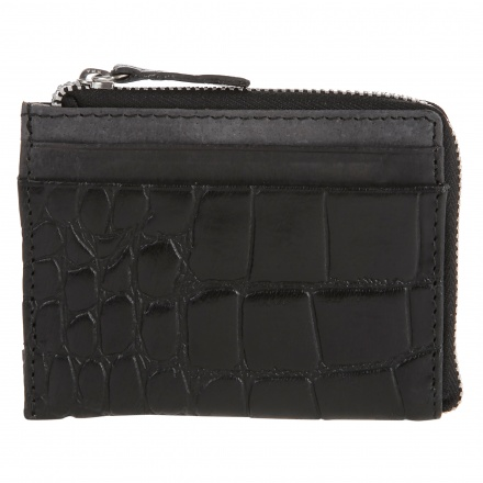 Textured Bi-fold Wallet with Zipper
