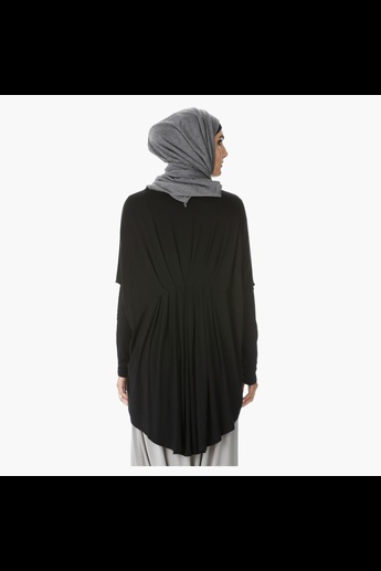 Pleated Top with Long Sleeves and High-Low Hem