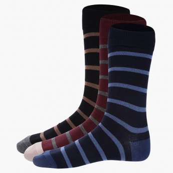 Striped Mid Calf Socks - Set of 3