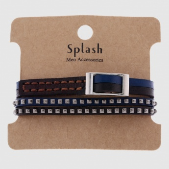 Studded Braclet with Buckle Closure - Set of 2