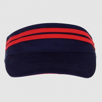 Striped Half Cap with Hook and Loop Closure