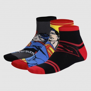 Superman Print Ankle Socks - Set of 3