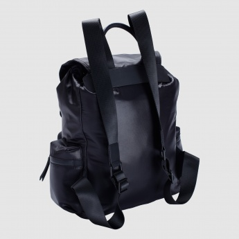 Iconic Backpack with Flap and Drawstring Closure