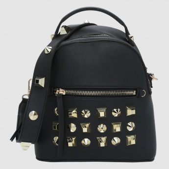 Studded Backpack with Zip Closure